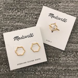 NWT Madewell Wobbly Circle Earrings & Ring Bundle